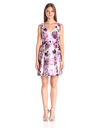 90bab0e3 Adrianna Papell Women's Open Back Jacquard Party Dress with V-Neckline,  Purple/Multi