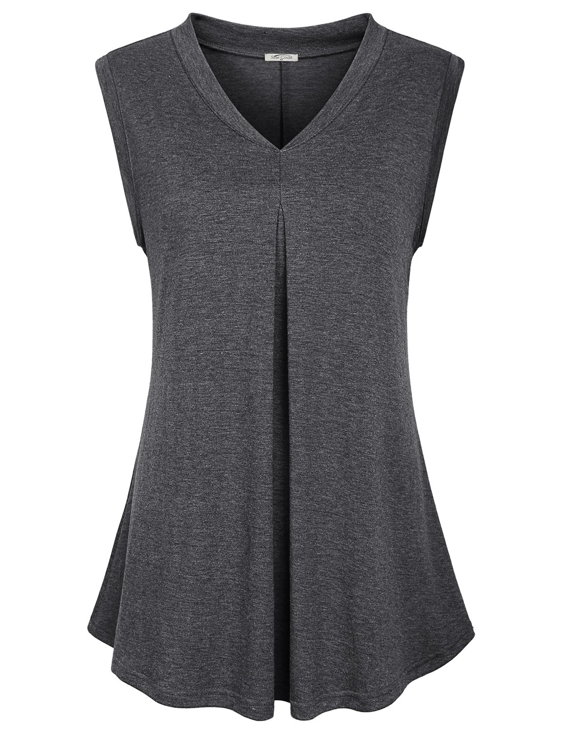 SeSe Code Sleeveless Tunics for Women Ladies Wear with Leggings Dressy Shirts Elegant Work Business Casual Stretch V Neck Blouse Space Dye Dark Grey M