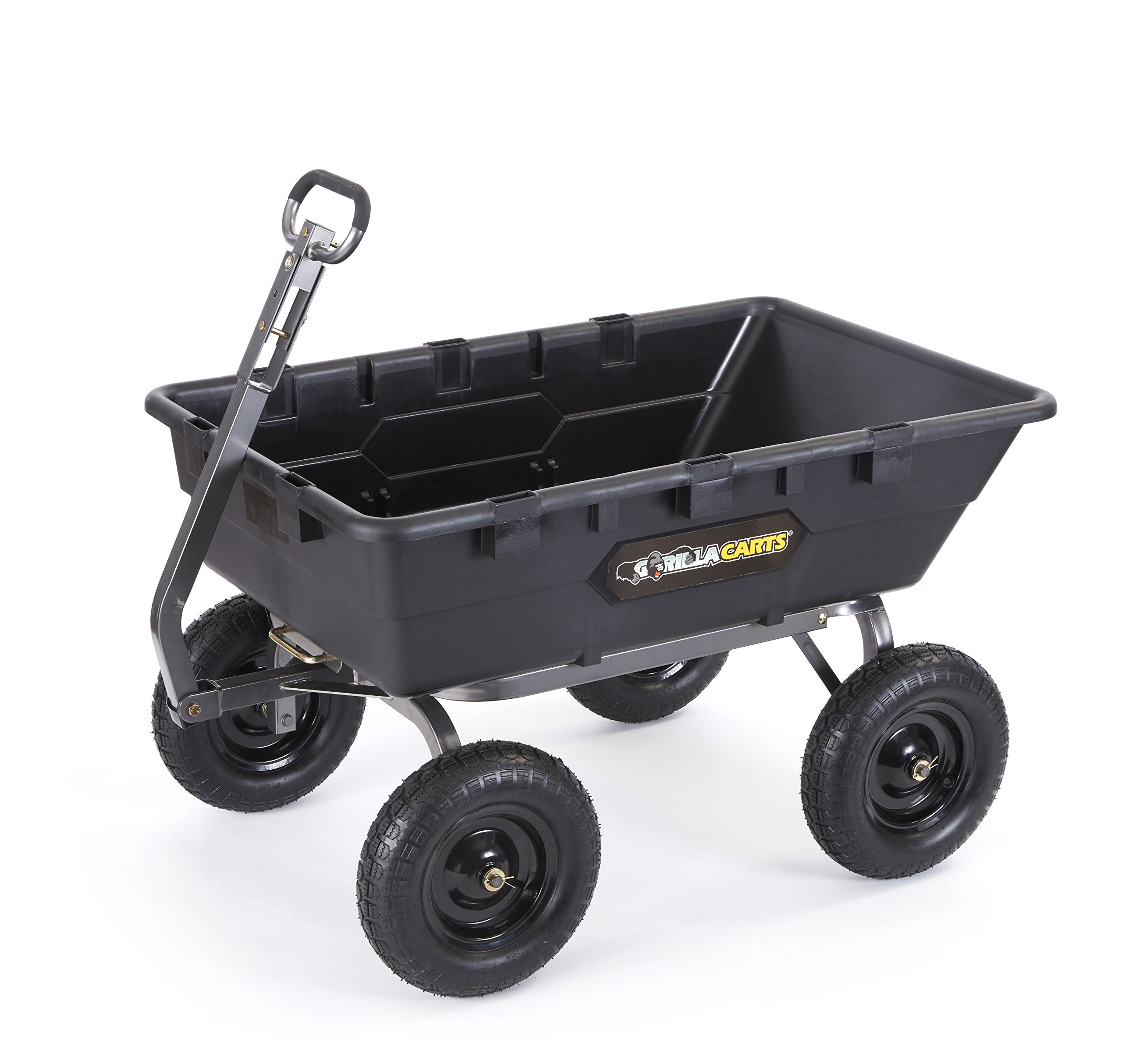 Gorilla Carts GOR10-16 Super Heavy Duty Poly Dump Cart, 1,500-pound Capacity, Black by Gorilla Carts