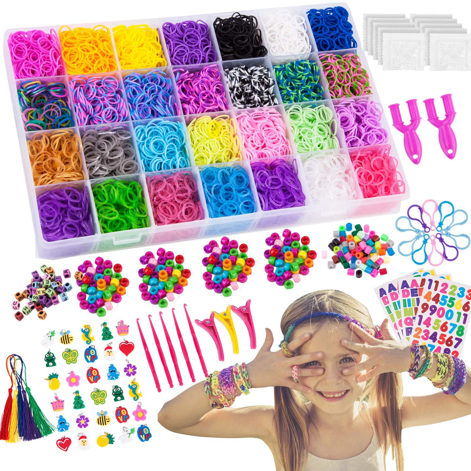 200 Beads + 52 ABC Beads to Personalize your bracelet Organizer 600 Clips 10 Backpack Hooks 24 Charms 11,750+ Rainbow Rubber Bands Refill Set Includes: 10,750 Premium Loom Bands 42 Unique Colors