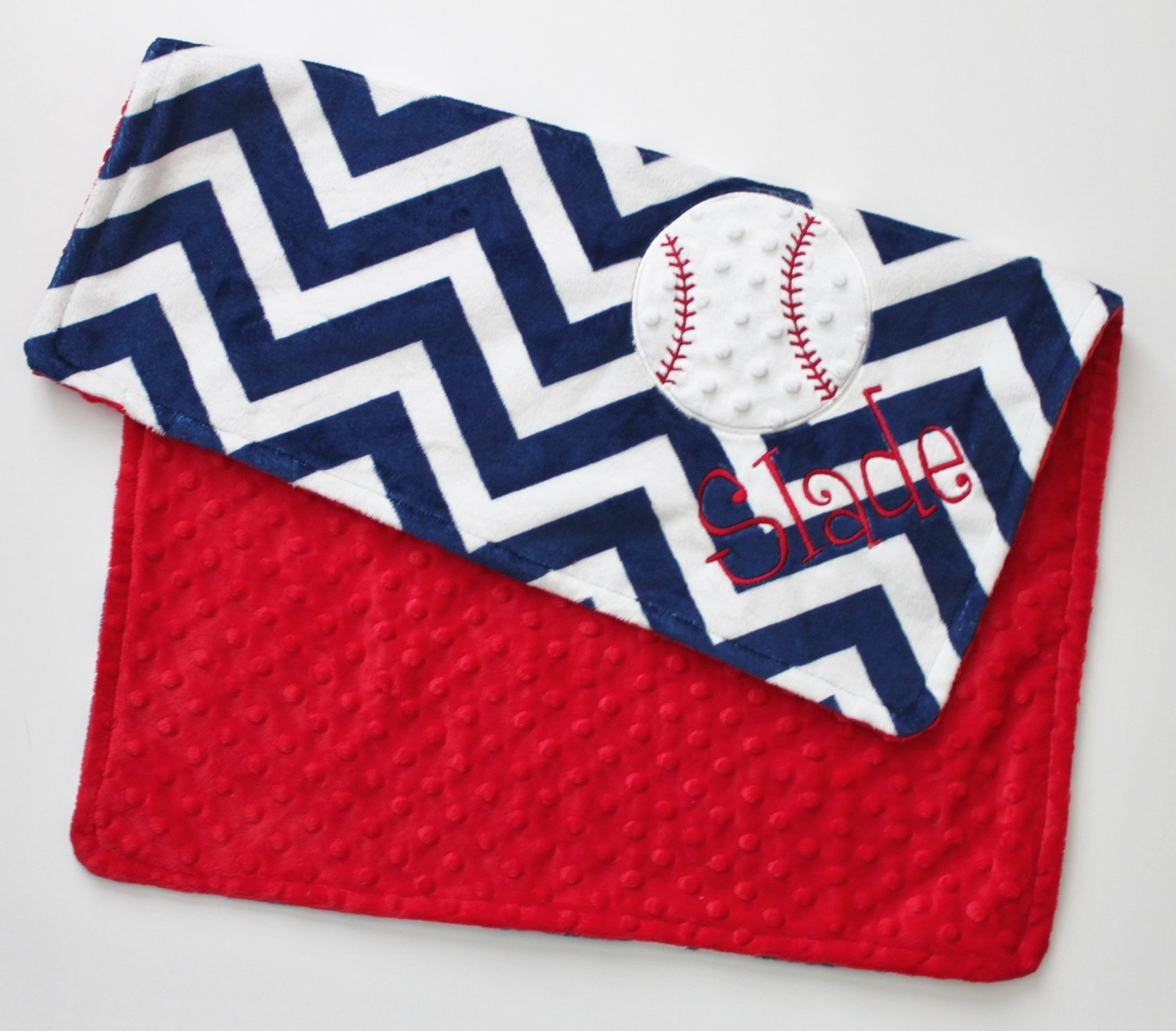 Personalized Double Minky Blanket with Baseball Applique in Red, White and Navy Blue Chevron