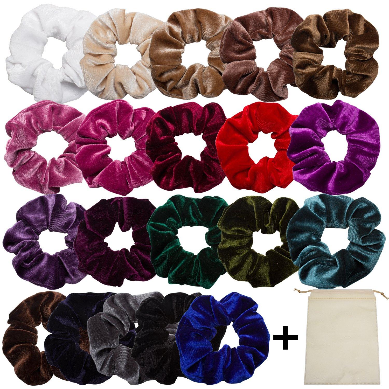 EAONE 20 Pack Velvet Hair Scrunchies Colorful Velvet Hair Ties Scrunchy Bobble H