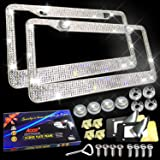 Aootf Bling License Plate Frame- Sparkly Bling Chrome Rhinestone Stainless Steel Metal Frames for Women & Men and Screws Kit,