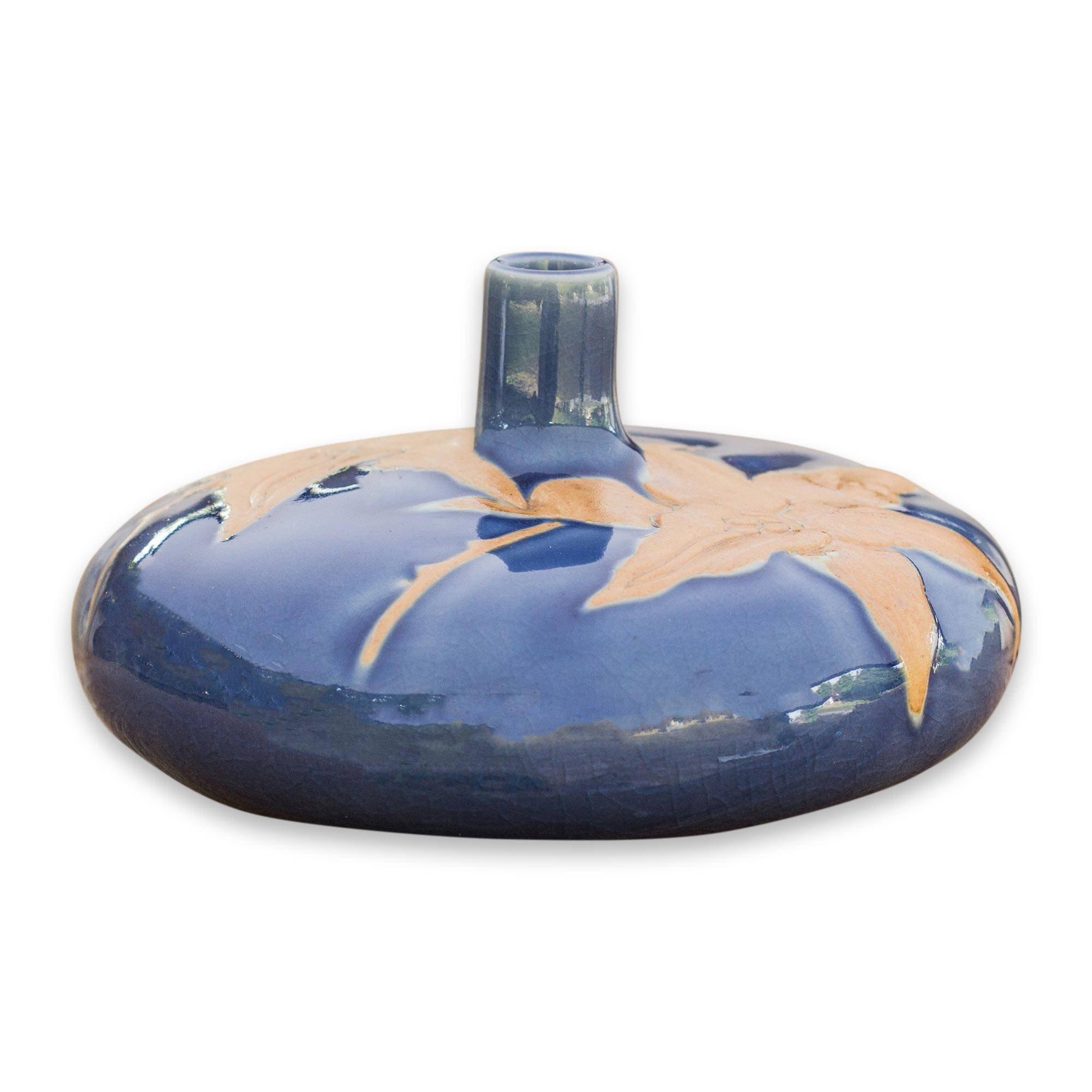 NOVICA Floral Ceramic Vase, Blue 'Blue Valley Lily'