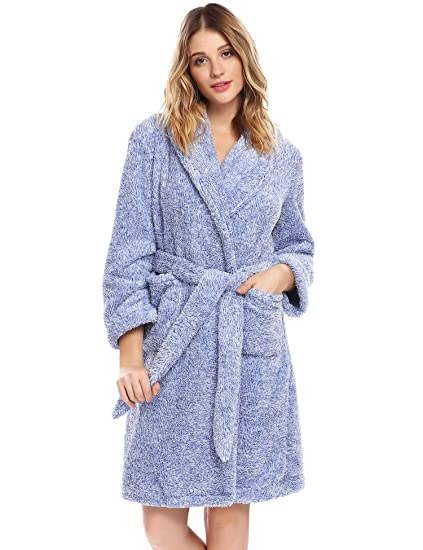Vansop Women Long Sleeve V-Neck Fleece French Terry Shaggy Plush Short Wrap  Spa Bath 606ca90fd