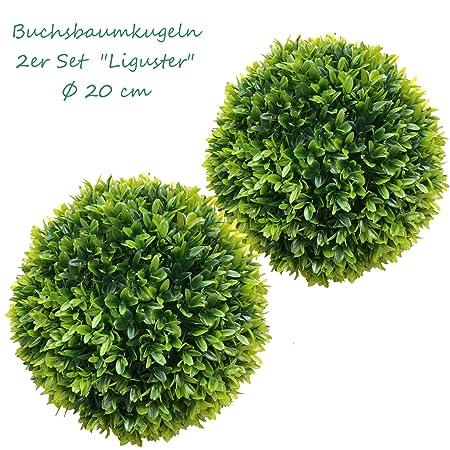 TLC 2 x 20 cm Ø künstliche Buchsbaumkugel, Spar - Set, EDEL LIGUSTER - sehr natürlich wirkend
