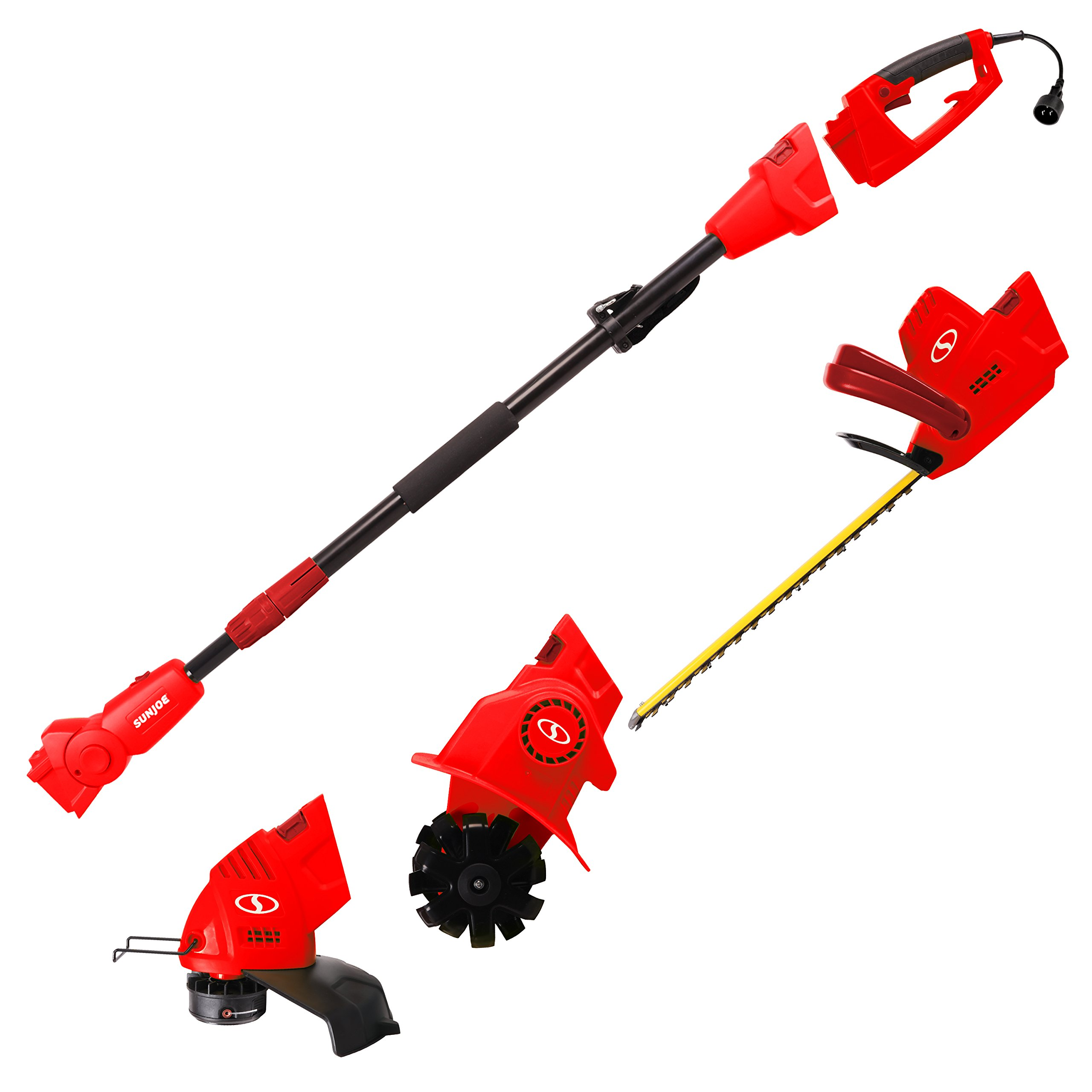 Sun Joe GTS4000E-RED Lawn + Garden Multi-Tool System (Hedge + Pole Trimmer, Grass Trimmer, Garden Tiller), Red by Snow Joe