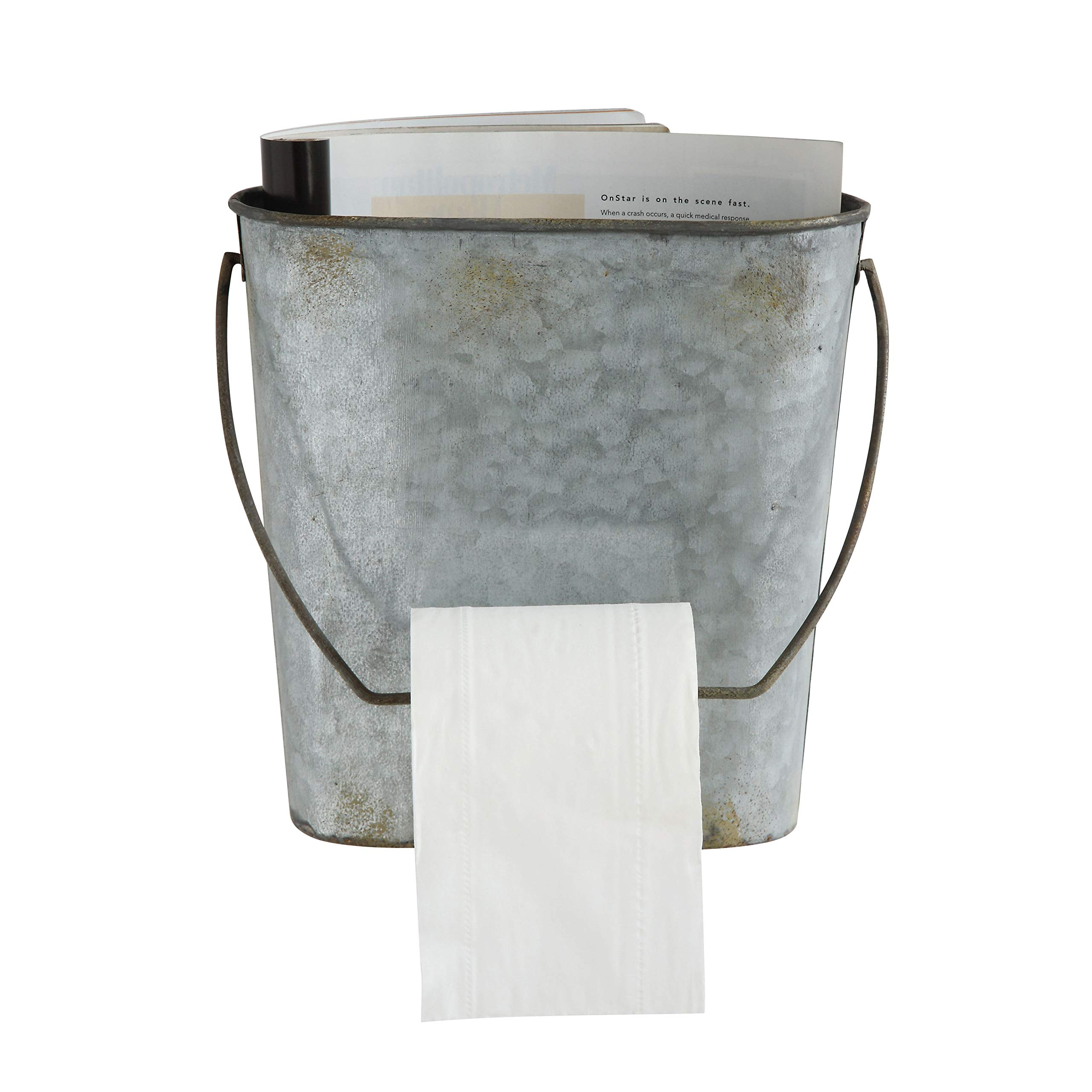 Creative Co-op Magazine & Toilet Paper Wall Tin Bucket by Creative Co-op