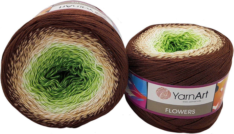 YarnArt Flowers Gomitolo di Lana da 500 g Multicolore Bordeaux Lilla Grigio 286 55/% Cotone