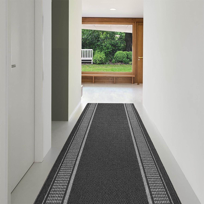 Teppich Läufer Promenade   in vielen Größen, Meterware  Teppichläufer  stilvoller Teppichläufer  aus pflegeleichtem Flachgewebe   kombinierbar mit Stufenmatten   anthrazit (80x300 cm) 4950a8