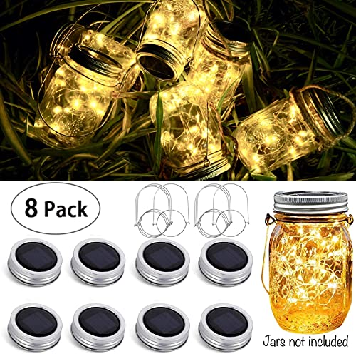 8 Pack Solar Mason Jar Lid String Lights,Warm White Waterproof String Fairy Star Firefly Lights with 8 Hangers Included No Jars ,for Regular Mason Jar Patio Garden Wedding Lantern Table Decor