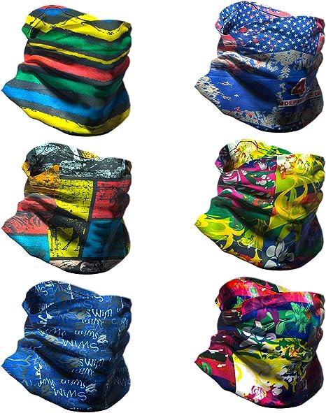 National Flag Zbegotta 6 PCS Outdoor Magic Scarf Headband Neck Gaiter Face Mask Elastic Seamless Bandana Scarf UV Resistance Sport Headwear