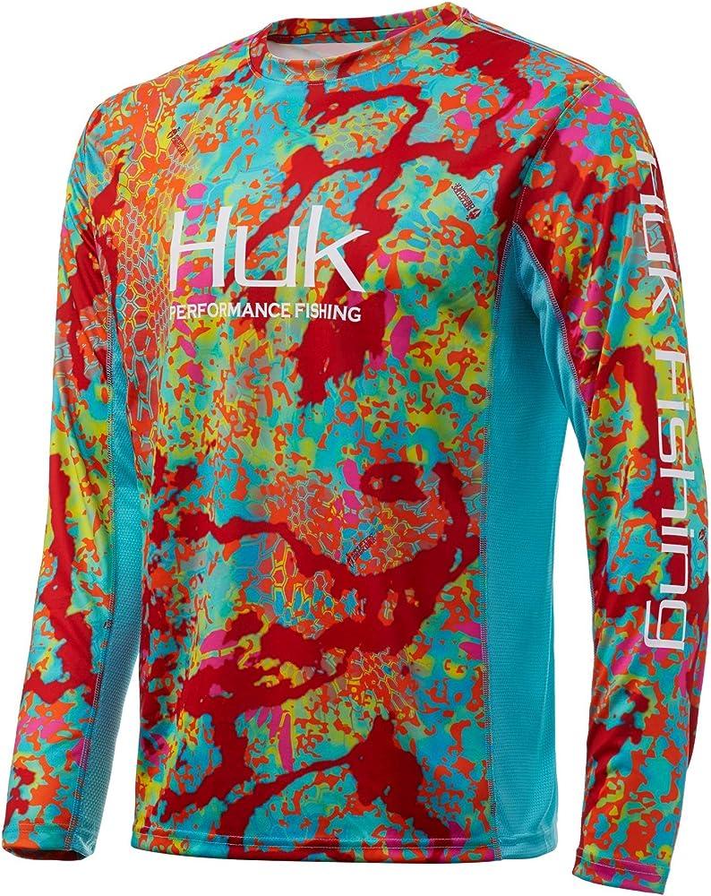 Long Sleeve Performance Fishing Shirt With +30 UPF Sun Protection Medium White Huk Mens Circle Hook Pursuit