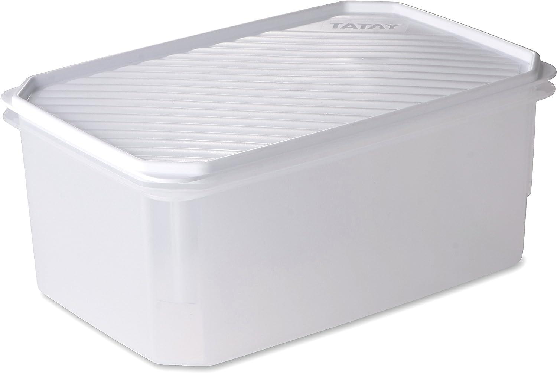TATAY 1162201 - Contenedor de alimentos hermético rectangular de gran capacidad con tapa flexible a presión blanca, libre de BpA, 4,7 L, 28,5 x 18,5 x 12,2