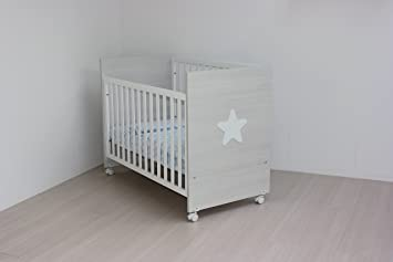 Kinderbett holz grau meliert kombi weiß 60 x 120 seitlich klappbar