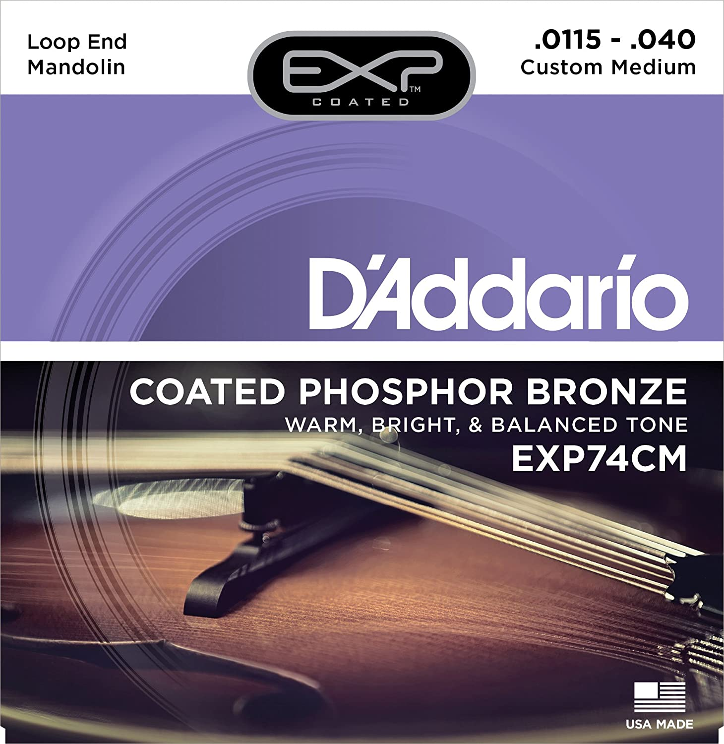 D'Addario EXP74 Coated Phosphor Bronze Mandolin Strings, Medium, 11-40 D'Addario &Co. Inc