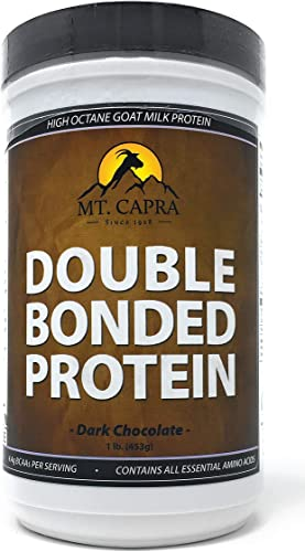 MT. CAPRA SINCE 1928 Double Bonded Protein Whole Goat Milk Protein with Natural Blend of Casein and Whey from Grass-fed Pastured Goats, Dark Chocolate Flavor – 1 Pound