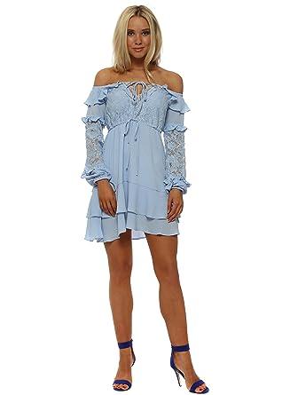 5bef2266eb77 Bardot Lace Ruffle Mini Dress M/L Blue: Amazon.co.uk: Clothing