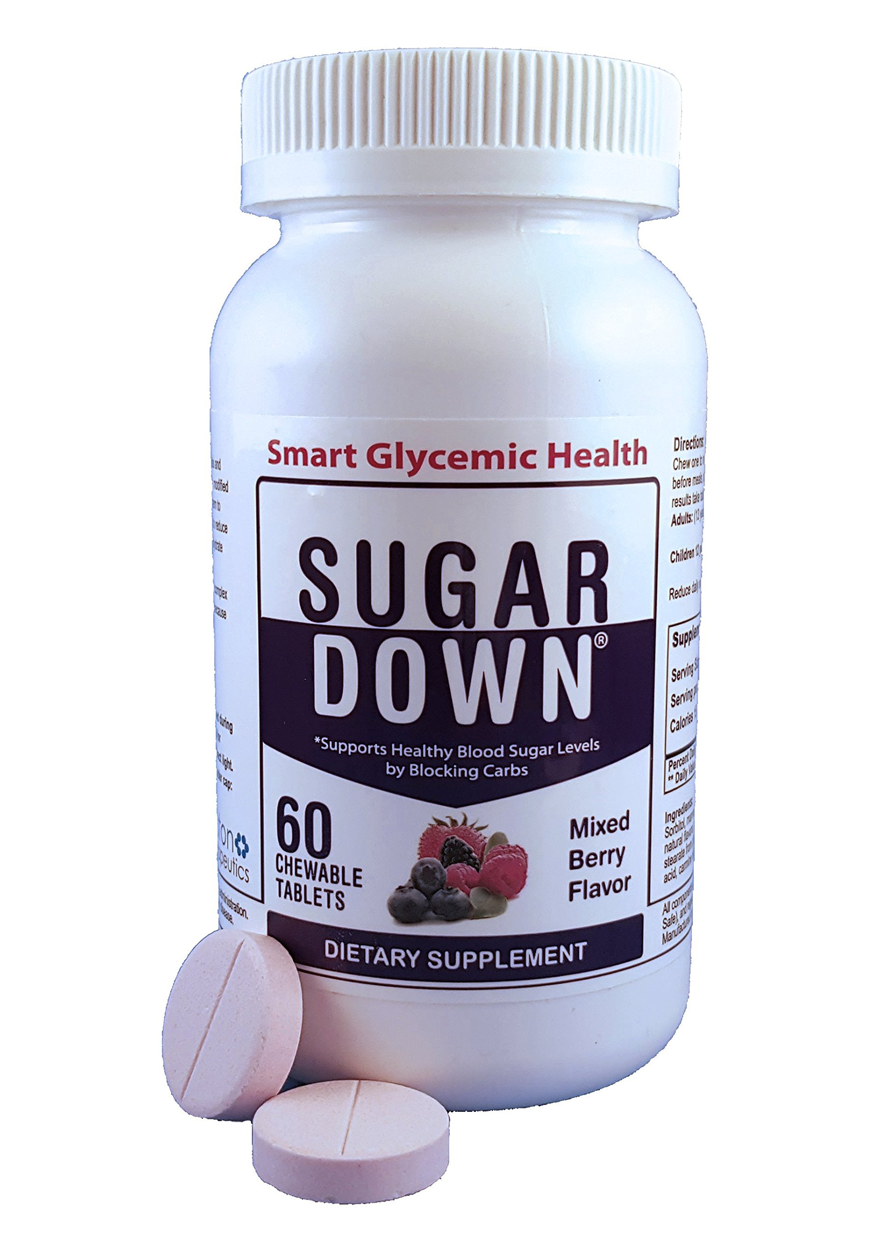 SugarDown Blood Sugar Support. Naturally Block Carbs. 1 Bottle. 60 Chewable Tablets. Mixed Berry Flavor.  by SUGARDOWN