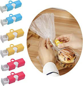EIKS 6pcs Bag Clips Snap Twist Tie Replacement for Food Fruit Bread Bag Cinch Easy Squeeze & Lock