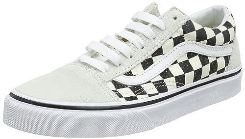 248130118e Vans Unisex Old Skool (Checkerboard) White Black VN0A38G127K Skate ...