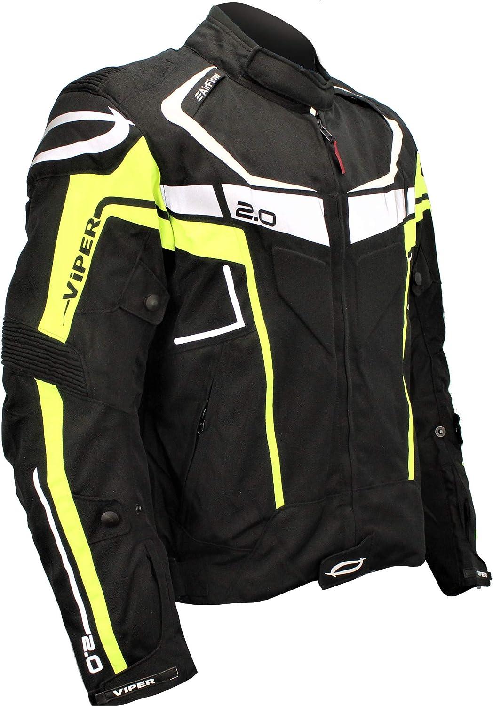 Motorcycle Rider Touring Urban Biker Waterproof Textile Jacket VIPER AXIS 2.0 MENS MOTORBIKE CE APPROVED JACKET BLACK//YELLOW