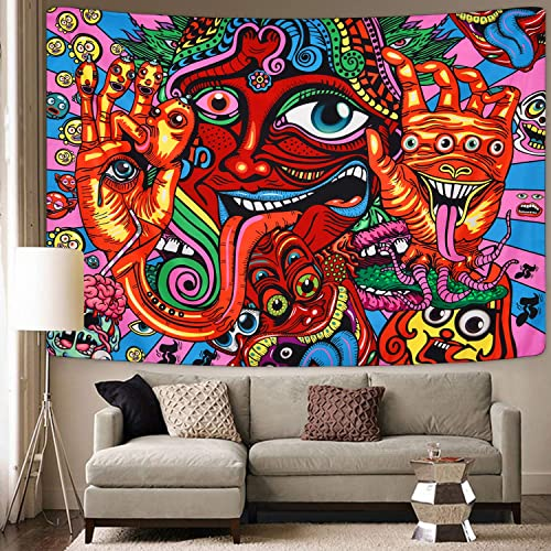 Psychedelic Arabesque Tapestry Mysterious Hippie Tapestry Abstract Retro Pattern Trippy Tapestry Fantasy Magical Fractal Tapestry for Room