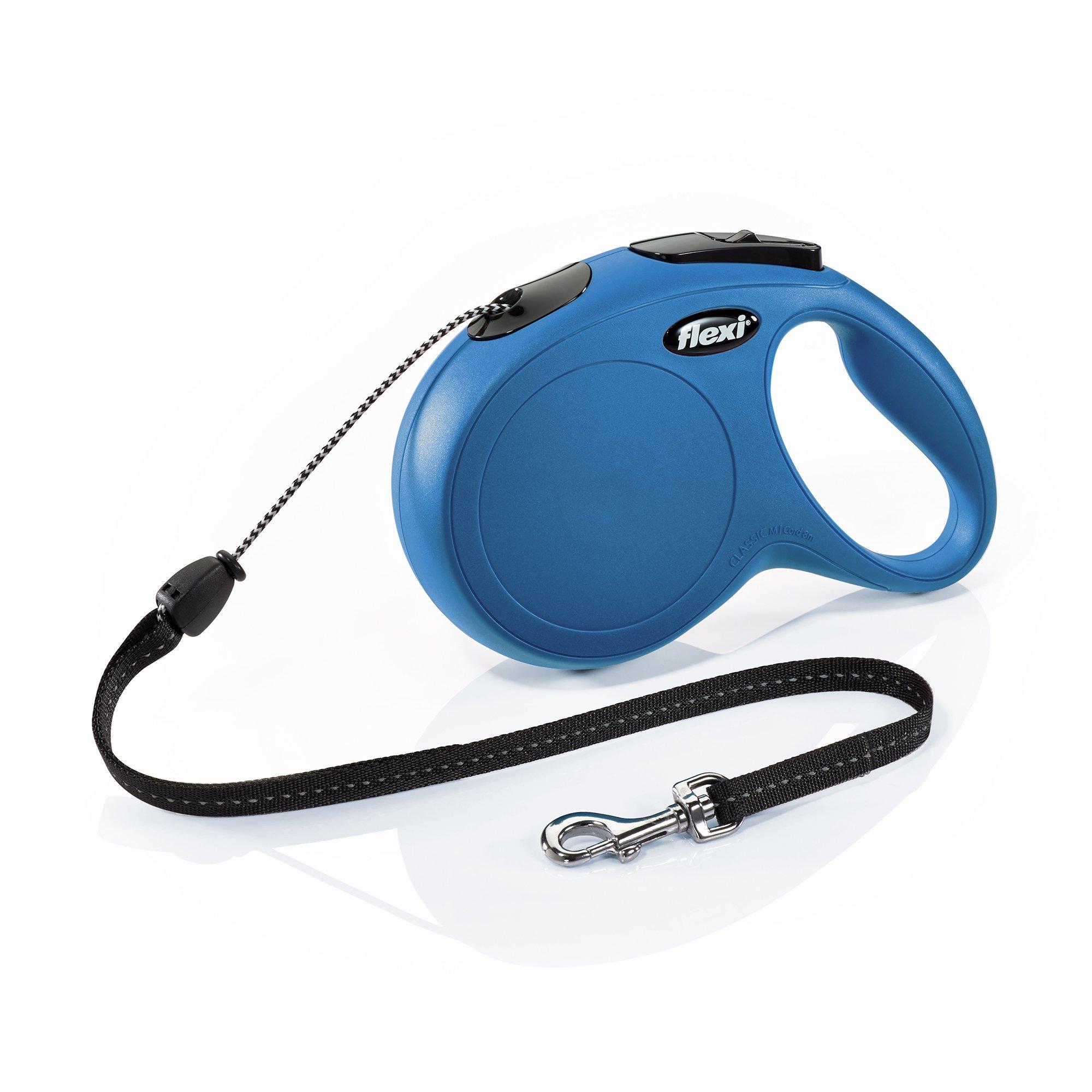 Flexi New Classic Retractable Dog Leash (Cord), 26 ft, Medium, Blue