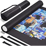 """JOHEXI Jigsaw Puzzle Caddy Portable Puzzle Roll Up Mat - Store and Transport to 1500 Pieces 46"""" x 26"""" - Foam Roller and Dual"""