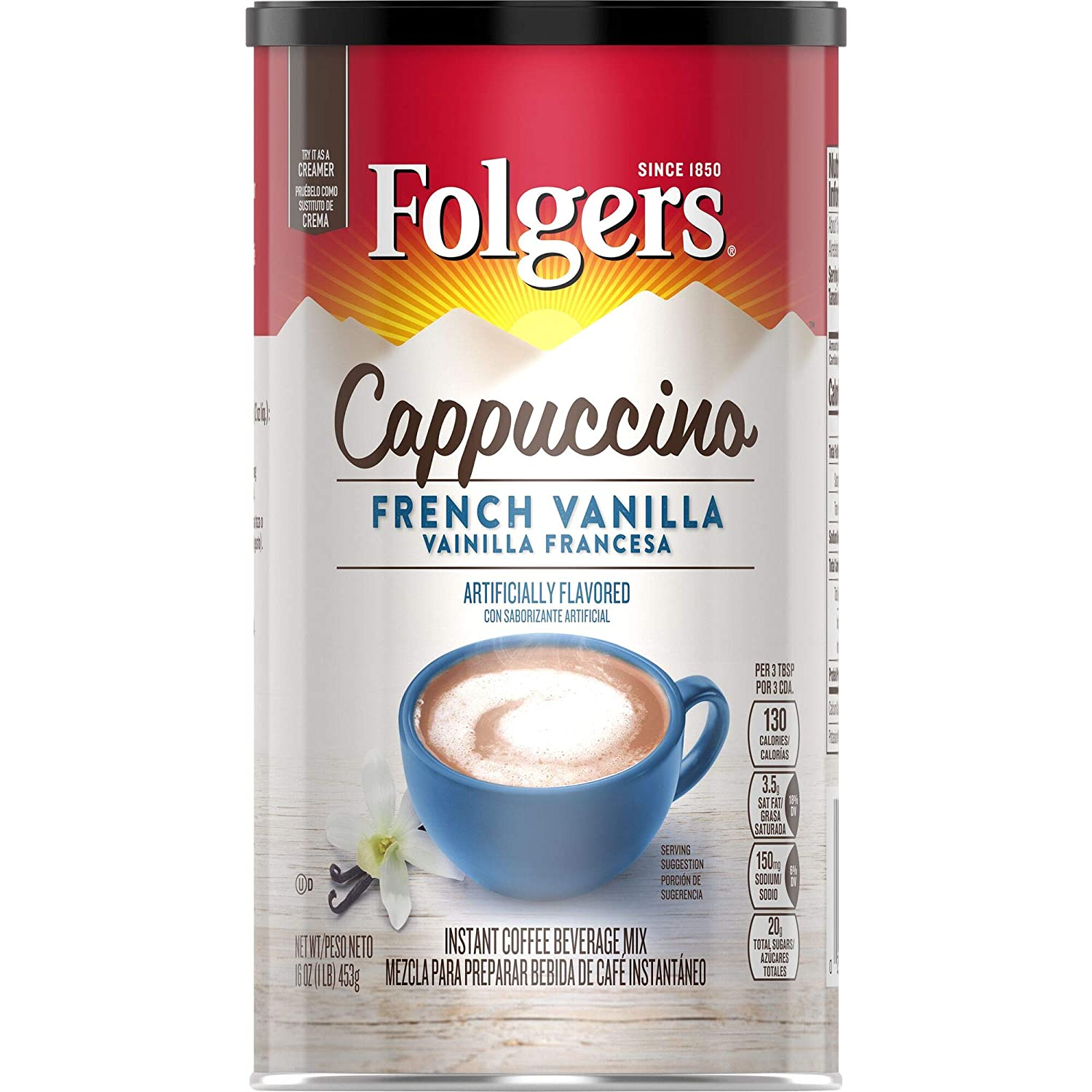 Folgers Cappuccino French Vanilla Instant Coffee Beverage Mix, 16 Ounces (Pack of 6)