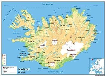 Physische Karte Von Island Laminiertes Papier Ga A1 Size 59 4 X