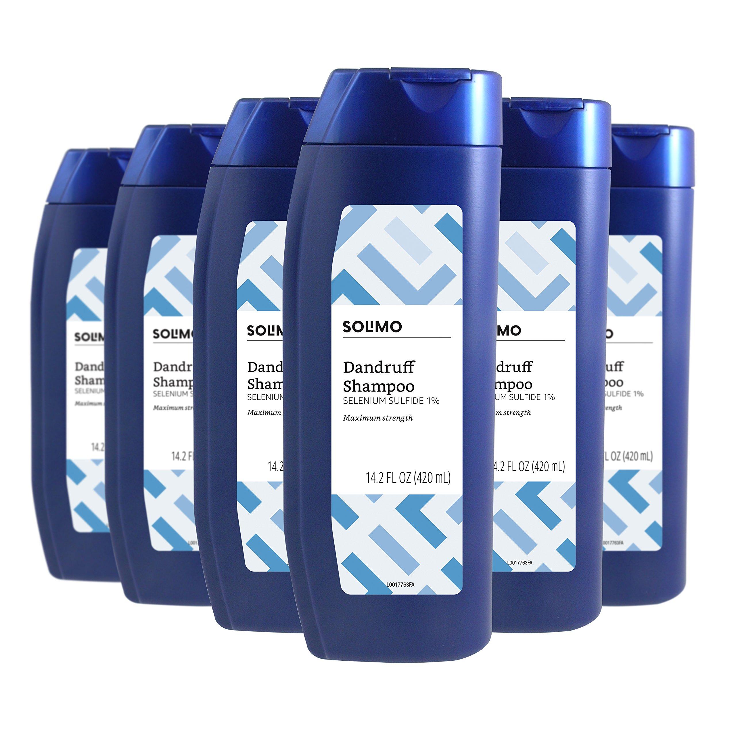 Amazon Brand - Solimo Advanced Solution Dandruff & Seborrheic Dermatitis Shampoo, Maximum Strength, 14.2 Fluid Ounce (Pack of 6) by Solimo