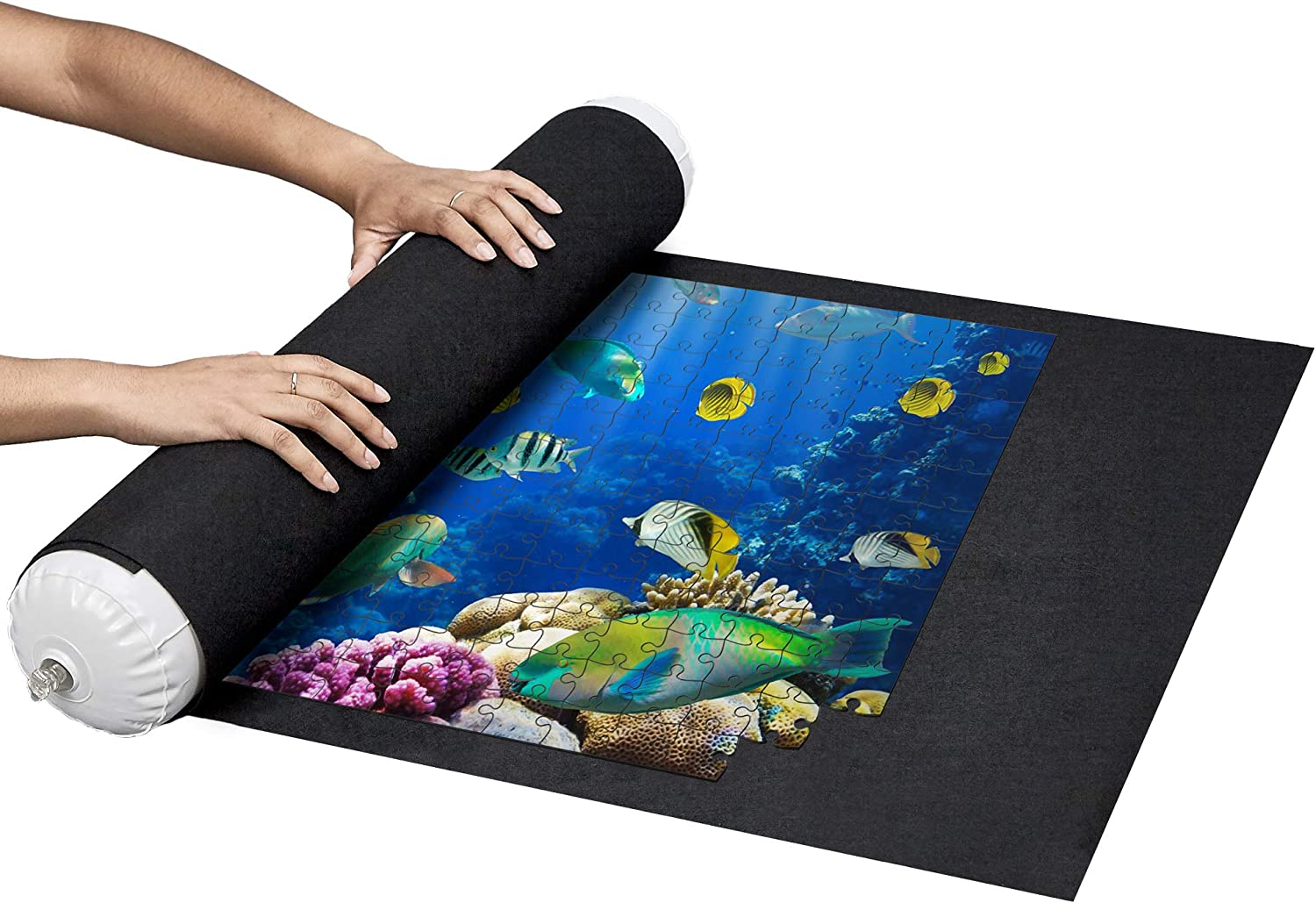 Store and Transport Jigsaw Puzzles Up to 1500 Pieces and 3 Elastic Fasteners by Amy and Delle 46 x 26 Felt Mat Nessie/'s Playground Puzzle Roll Up Mat Inflatable Tube