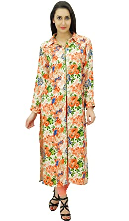 ec5c6c746885 Bimba Designer Floral Tunic Pashmina Blend Kurta Kurti with Shirt Collar  Neck Blouse at Amazon Women s Clothing store