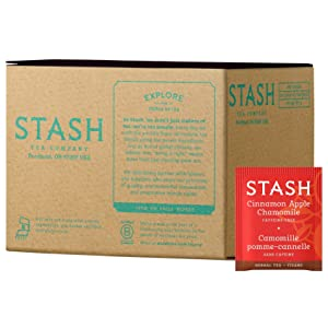 Stash Tea Cinnamon Apple Chamomile Herbal Tea 100 Count Tea Bags in Foil (packaging may vary) Individual Spiced Herbal Tea Bags for Use in Teapots Mugs or Teacups, Brew Hot Tea or Iced Tea