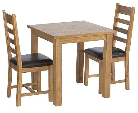The Furniture Outlet Sherwood Roble Mesa de Comedor Cuadrada y 2 ...