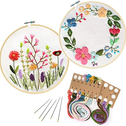 2 Pack Cross Stitch Stamped Embroidery Kit Evermarket DIY Beginner Counted Starter Cross Stitch Kit for Art Craft Handy Sewing Including Color Pattern Cloth,Embroidery Hoop,Color Threads,Tools