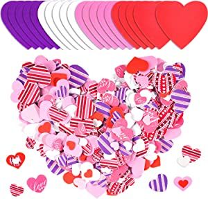 Whaline 504 Pcs Valentine's Day Foam Hearts Set,Including 24pcs Colorful Foam Hearts,480pcs Self Adhesive Heart Foam Stickers and 3 Sheets Glue Point,for Mother's Day DIY Crafts,Scrapbook Cards Decor