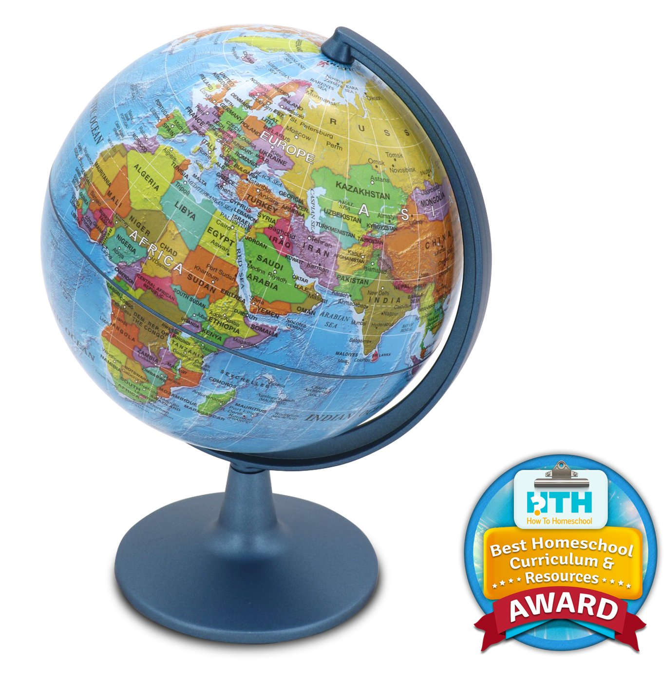 Waypoint Geographic GeoClassic Globe - 6'' (10cm) Blue Ocean with UP-TO-DATE Cartography - 100's of Points of Interest - Well Constructed Weighted Base - Perfect for Educational Reference or Decoration