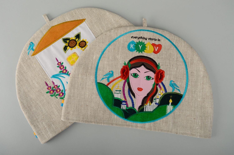 Linen Teapot Cozy With Applique Work Ukrainian Girl