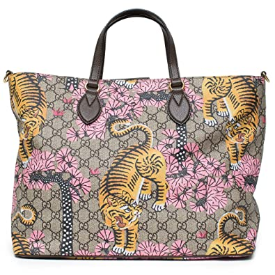 a3d440e8c5d Gucci Bengal Tote Pink Shoulder Mixed Tiger Fabric leather Handbag Purse Bag  New