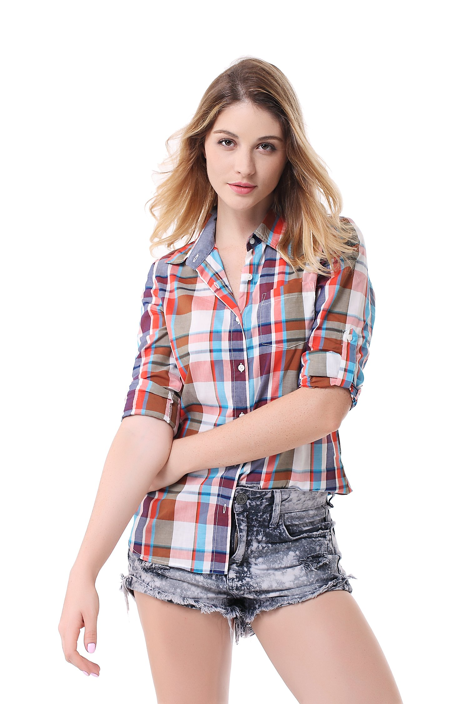 Pau1Hami1ton G-03 Women's Casual Plaid Long Sleeve Blouses Cotton Shirts Tops(L,15)