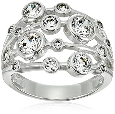 85bfb0cc6 Amazon.com: Platinum-Plated Sterling Silver Swarovski Zirconia Round Multi-Stone  Ring: Jewelry