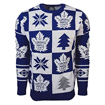 6470965b29e Forever Collectibles Toronto Maple Leafs Patches Crewneck NHL Ugly Sweater  XXL