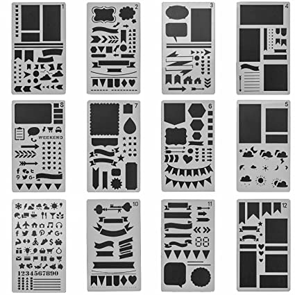 eborder 12 pcs Bullet Journal Stencil Set for Journaling/Notebook/Drawing  Graffiti/Scrapbook DIY Template Planner Stencils 4x7 Inch