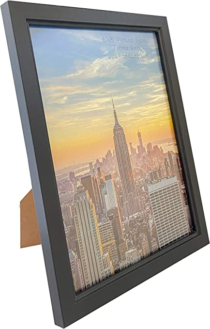10 PACK Frame Amo 6x8 Black Wood Picture Frame Wall or Table 1 Glass Front 3