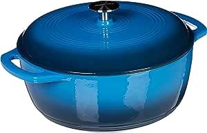 AmazonBasics Enameled Cast Iron Covered Dutch Oven, 4.3-Quart, Blue