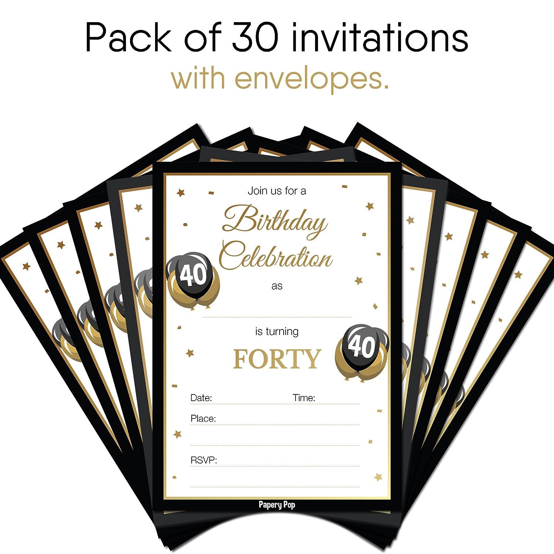 Amazon.com: 40th Birthday Invitations with Envelopes (30 Count) - 40 ...