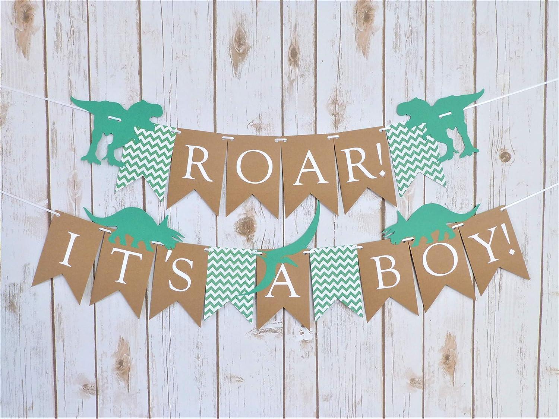 Amazon.com: Roar It's A Boy Dinosaur Banner Green Kraft Brown Chevron Boy Baby  Shower Roar Decorations Ideas Themes Cake Dessert Table Triceratops:  Handmade