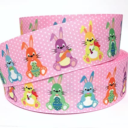 1.5 Inch  38 mm Printed Grosgrain Ribbon Bunny Ribbon 1.5 Easter RIBBON